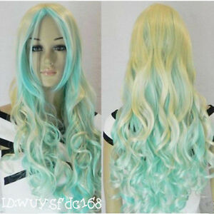 new-long-mixed-blonde-blue-curly-cosplay-hair-wig-Free-wig-cap-NO-136