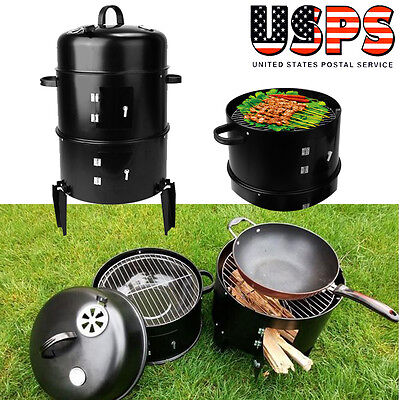 3 in 1Charcoal Grill Jumbo BBQ Kettle Grills Barbecue Smoker Outdoor Cooking NEW