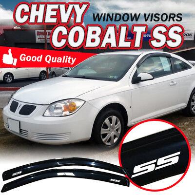 Fit 05-10 Chevy Cobalt Coupe Smoke Slim Window Visors Sun Rain Deflector Tape -