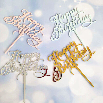 Happy Decorations (New Happy Birthday Acrylic Glitter Cake Topper Party Decoration Celebration)