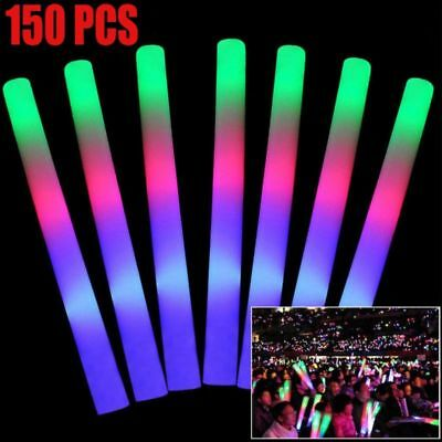 150PCS Foam Sticks LED Wands Rally Rave Batons DJ Flashing Light Up Glow Stick (Glow Stick Wands)