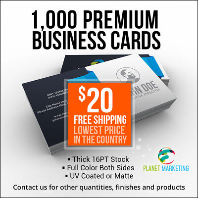 1000 Business Cards Full Color 2 Side Printing UV Coated or Matte FREE Shipping