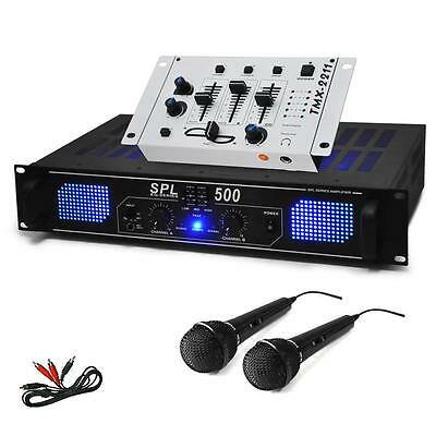 PA DJ SET 1600W KARAOKE HIFI SOUND MUSIK ANLAGE ENDSTUFE MISCHPULT 2 MIKROFONE