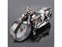 New Quartz Analog Travel Desk Alarm Clock Time Motorcycle Model