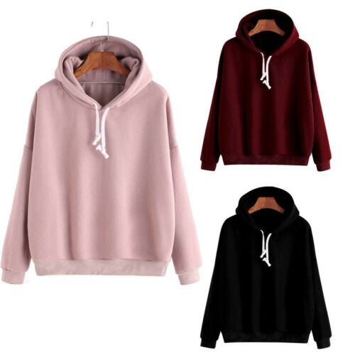 Men Women Pullover Hoodie Unisex Hip-hop Solid Color Plain S