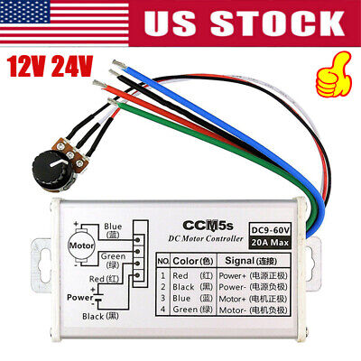 12v 24v Max 20a Pwm Dc Motor Stepless Variable Speed Control Controller New