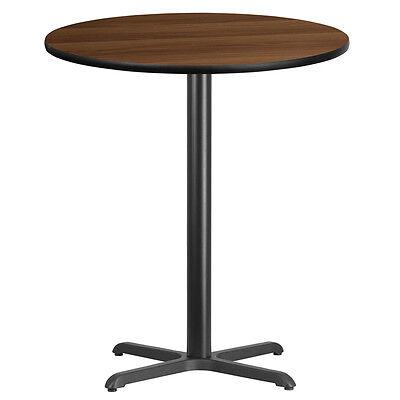 36 Round Walnut Laminate Table Top With 30 X 30 Bar Height Base