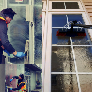 Scrub and rinse window cleaning