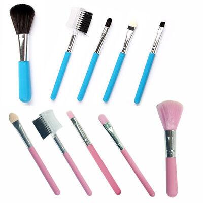 Pinselset 5teilig Kosmetik Pinsel Gesicht Make-Up Set  mit Tasche blau und rosa Make-up Pinsel Und Kosmetik Tasche