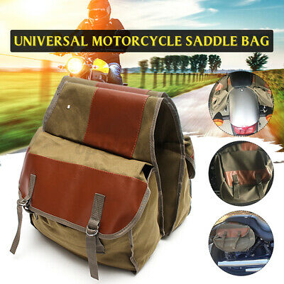 Motorcycle Canvas Saddlebags Equine Back Pack For Haley H onda Suzuki Green US