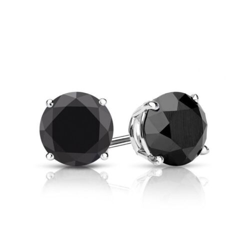 2 0 Carat Round Cut Black Diamond Earrings In Solid 14k White Gold Back Studs