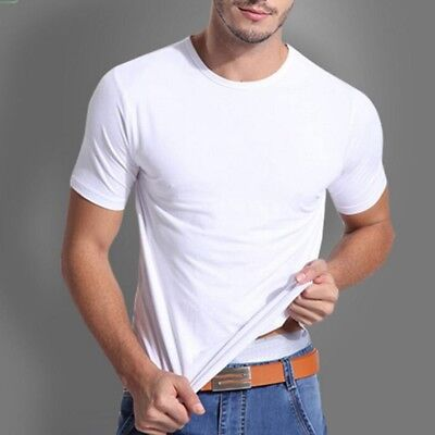 Men's Soft Quality Bamboo Fiber Round Neck T-Shirt Undershirts Top Plus Size Hot - Plus Size Men