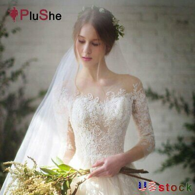 Plus Size Three Quarter Sleeve Lace Wedding Dresses Elegant Bridal Gown US6-20W