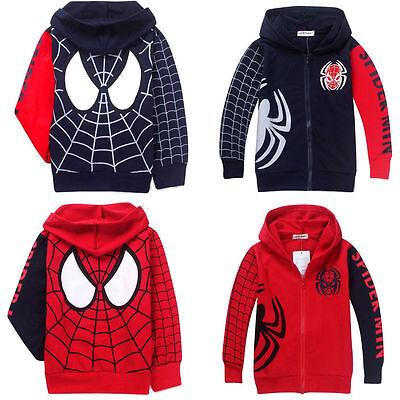 Kids Boys Spiderman Long Sleeve Hooded Sweatshirt Casual Jacket Coat Tops Winter](Boys Spiderman Top)