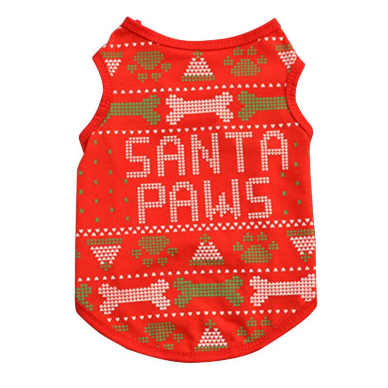 Pet Dog Cat Christmas Santa Clothes Puppy Warm Jumper Costume Outfit Vest UK 9