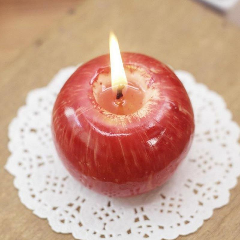 Cute Candle Lamp Scented Warm Apple Shape For Gift Wedding Home Display Material