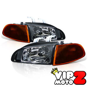 92-95 Honda Civic EG EH 2/3D Hatch Back Coupe Glass Headlight+Smoke Amber Corner