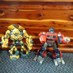 "Moving Light up Hasbro Bumble Bee 12"" and Optimus Prime 12"""