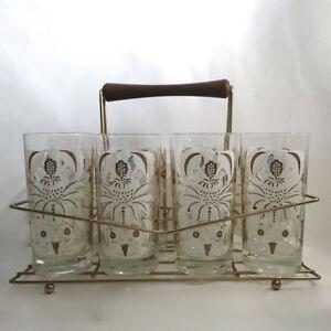 Vintage 1950s 8 Glasses & Wire Holder Rack