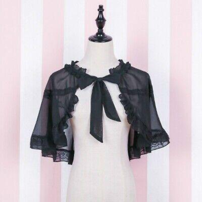Women Chiffon Lace Cape Bolero Shrug Jacket Stole Wrap Shawl Gothic Lolita Black