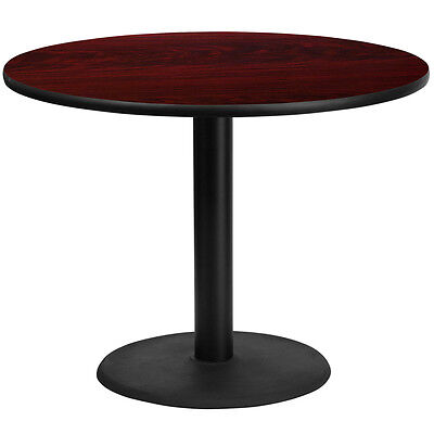 42 Round Mahogany Laminate Table Top With 24 Round Table Height Base