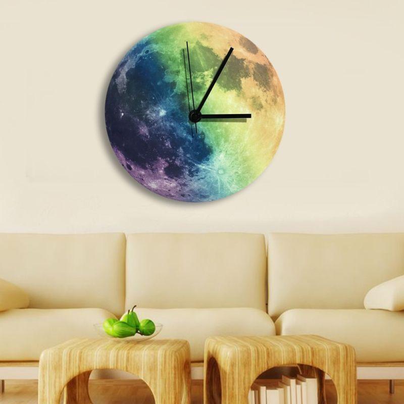 Glowing Wall Clock Moon Moonlight Luminous Night Light In Th