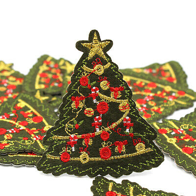 5 Pcs Christmas Embroidery Pathes Iron on Tree Applique Clothing DIY Xmas Badge ()