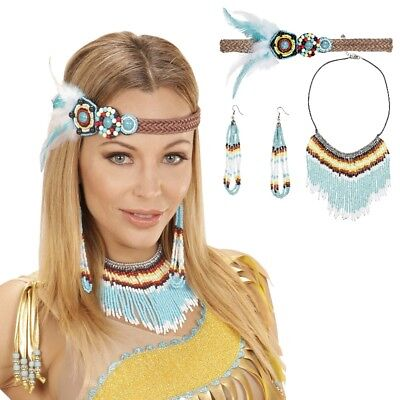 3-teilig Set Indianerin Schmuck - Haarband, Ohrring, Kette - Kostüm Zubehör (Indianer Kostüm Schmuck Ohrringe)