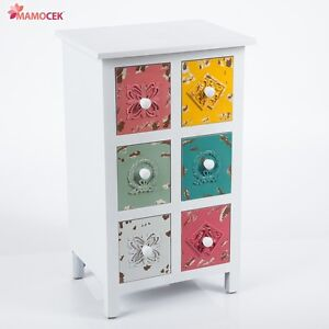 Mobiletto cassettiera legno bianco 6 cassetti colorati cm - Mobiletto shabby chic ...