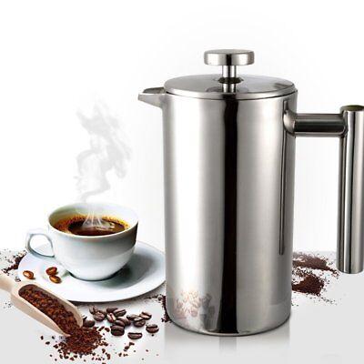 1 L Kaffeebereiter Doppelwandig Isolierflasch Edelstahl Kaffeekanne Kaffepresse