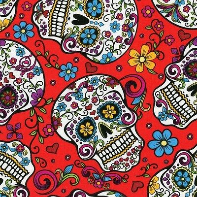 Fabric Day of the Dead Skulls & Zombies on Red Cotton by the 1/4 yard BIN