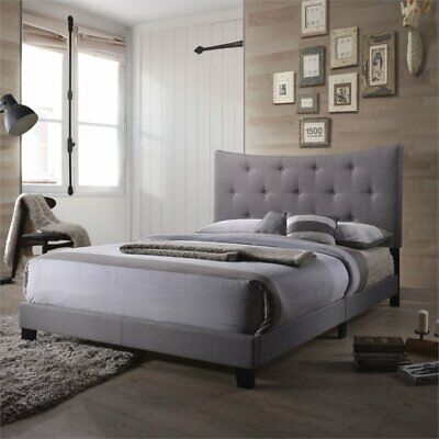 Bowery Hill Upholstered Queen Panel Bed in Gray