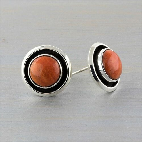 Mexican Sterling Silver and Coral Round Stud Earrings