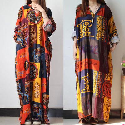 Hippie Plus Size Clothes - Plus Size Summer Boho Hippie Women Long Sleeve Loose Kaftan Long Maxi Dress