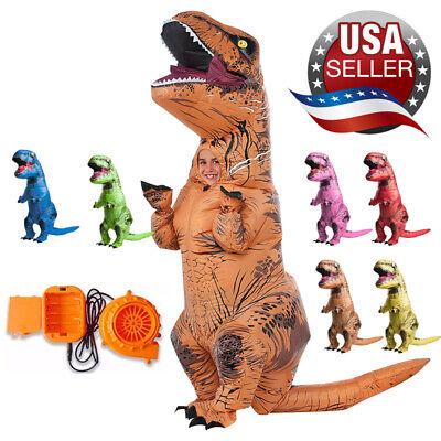 Dinosaur Dress Up Costume (Adult T-Rex T-REX Jurassic Inflatable Dinosaur Costume Blowup Suit Funny)