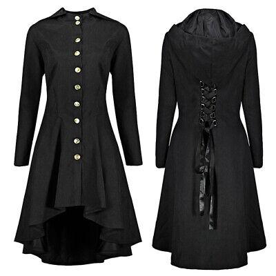 Gothic Steampunk Damen Trenchcoat Mantel Asymmetrischer Saum Königin/ Hexenkleid ()