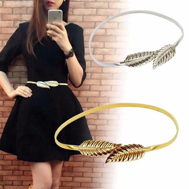 887b0f9af6305 Frauen Metall Blatt Gürtel Stretch Bund elastische Vintage Taille Kette