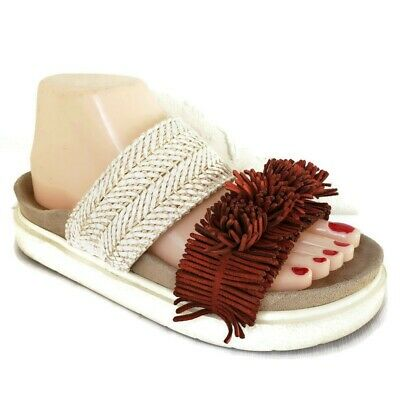 INUIKII Embossed Raffia Leather Woven Platform Comfort Sandals Women's Size 37