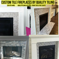 •Custom tile fireplaces by• QUALITY TILING