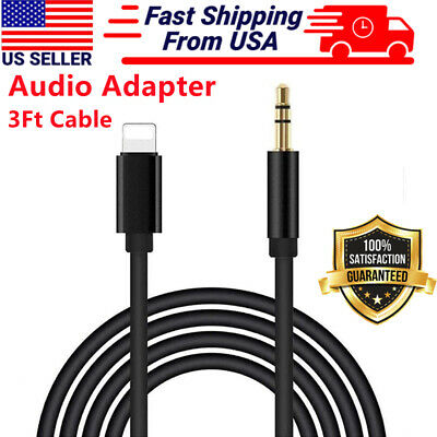 For iPhone 7 8 Plus X XR 11 12 Pro Max 8 Pin to 3.5mm AUX Audio Car Adapter Cord