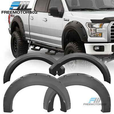 - Fits 15-18 Ford F150 Extended Crew Cab Pickup Pocket Fender Flares PP Textured