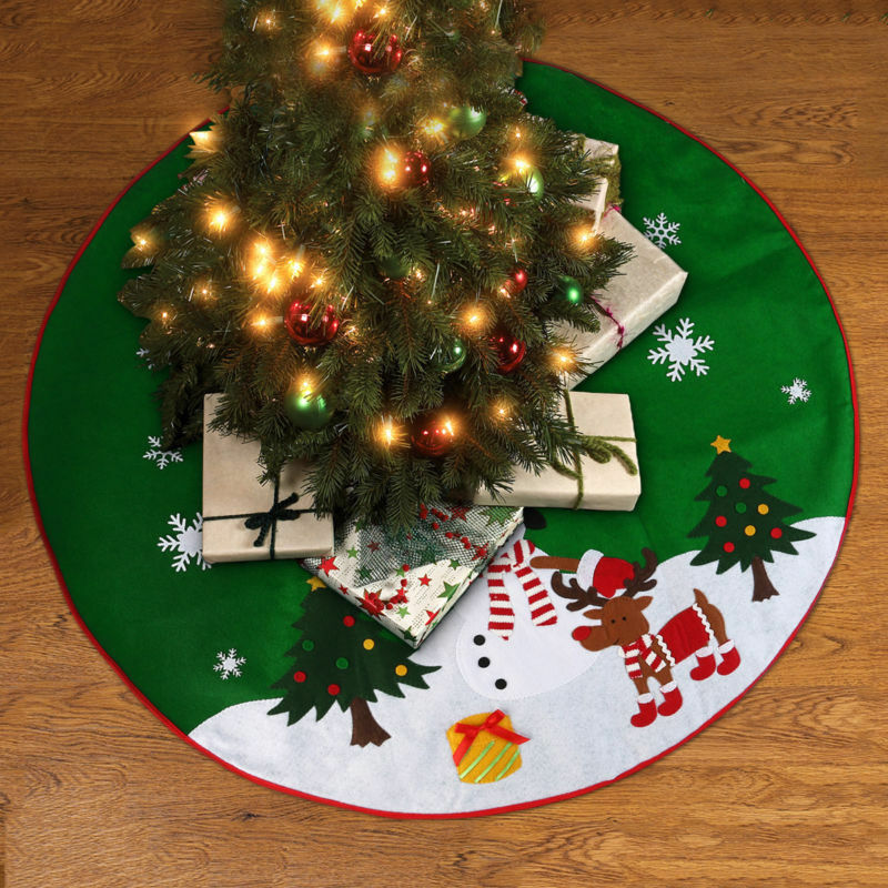 90cm Green Snowman Christmas Tree Skirt Base Floor Mat Cover XMAS Party Decor UK