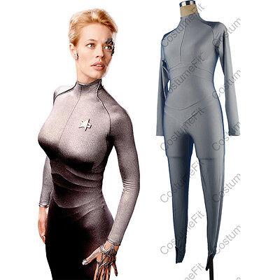 Star Trek Seven of Nine Silver Bodysuit Catsuit Halloween Cosplay Costume