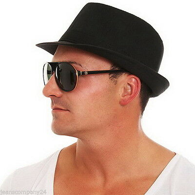 Trilby Fedora Bogarthut Schwarz Gangster Clubwear Hip Hop - Fedora Hut Schwarz