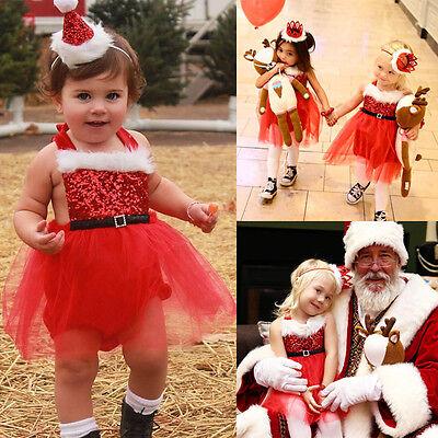 US Newborn Baby Girl Santa Claus Tutu Dress Romper Jumpsuit Outfits XMAS Costume
