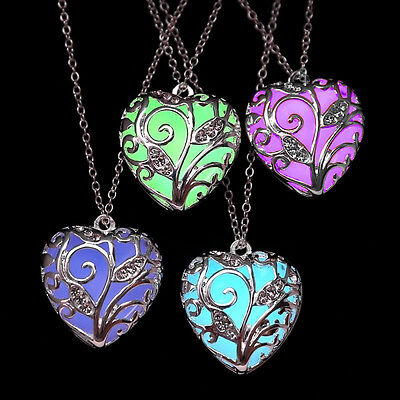 Glow in The Dark Women's Heart of The Ocean Pendant Necklace Chains Gift Jewelry - Glow In The Dark Jewelry