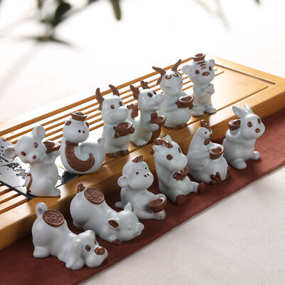 (one piece porcelain twelve chinese zodiac signs lovely animal statue decoration)