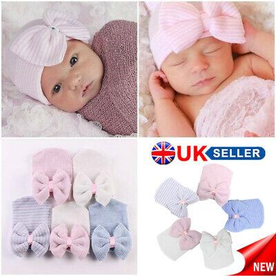 Baby Girls Infant Striped Soft Hat with Bow Cap Hospital Newborn Boy Beanie Hat