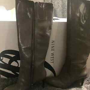 New Nine West Leather Grey Boots For  Sale