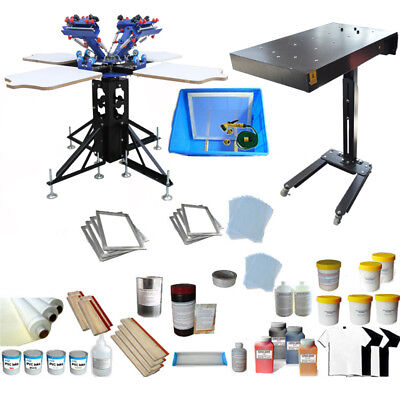 4 Color Screen Printing Press Kit Adjustable Screen Press Printer Flash Dryer